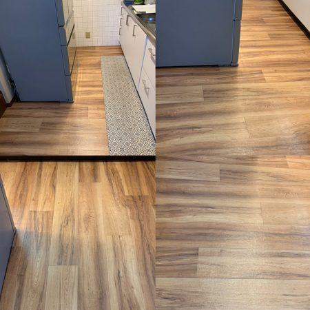 台所のフローリングも水こぼれが気になる場所もフロアタイルやCF補修